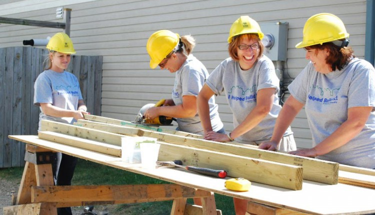 lumber construction women volunteer build team